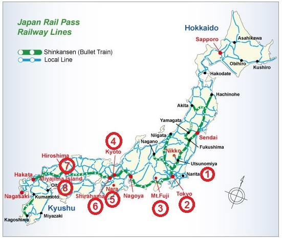Japan Rail itinerary